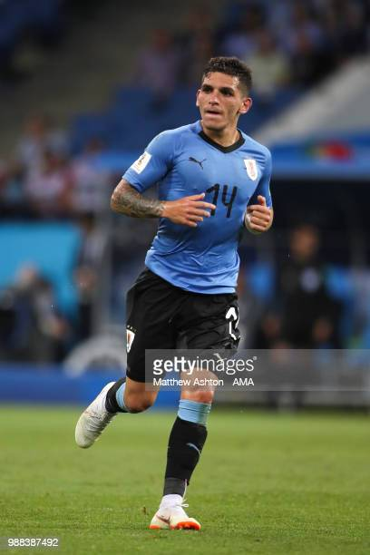 Lucas Torreira of Uruguay in action during the 2018 FIFA World Cup Russia Round of 16 match between Uruguay and Portugal at Fisht Stadium on June 30...