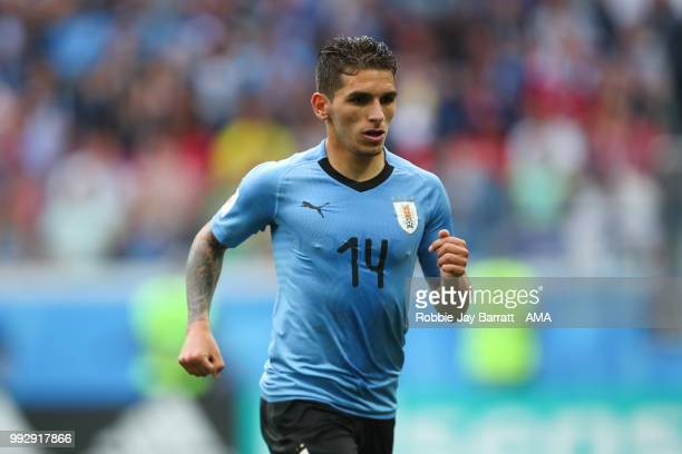 Lucas Torreira of Uruguay in action during the 2018 FIFA World Cup Russia Quarter Final match between Uruguay and France at Nizhny Novgorod Stadium...