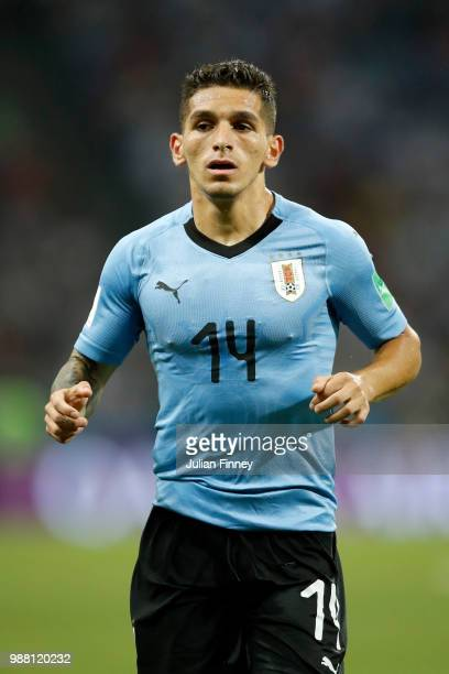 Lucas Torreira of Uruguay look on during the 2018 FIFA World Cup Russia Round of 16 match between Uruguay and Portugal at Fisht Stadium on June 30...