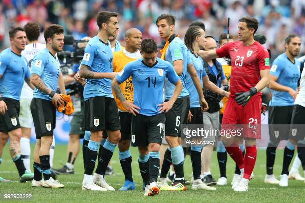 Lucas Torreira of Uruguay looks dejected following his sides defeat in the 2018 FIFA World Cup Russia Quarter Final match between Uruguay and France...