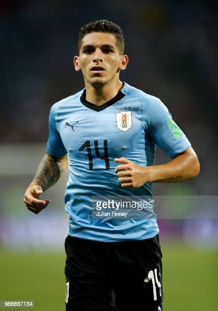 Lucas Torreira of Uruguay looks on during the 2018 FIFA World Cup Russia Round of 16 match between Uruguay and Portugal at Fisht Stadium on June 30...