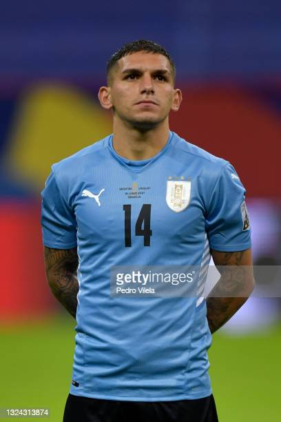 Lucas Torreira of Uruguay looks on prior to a group A match between Argentina and Chile as part of Conmebol Copa America Brazil 2021 at Mane...