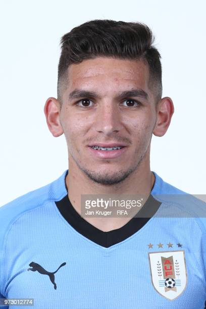 Lucas Torreira of Uruguay poses for a portrait during the official FIFA World Cup 2018 portrait session at Borsky Sport Centre on June 12 2018 in...