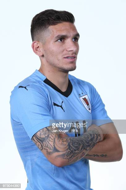 Lucas Torreira of Uruguay poses for a portrait during the official FIFA World Cup 2018 portrait session at on June 12 2018 in Nizhniy Novgorod Russia