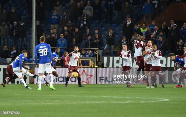 Lucas Torreira score a goal 10 during the serie A match between UC Sampdoria and Torino FC at Stadio Luigi Ferraris on February 3 2018 in Genoa Italy