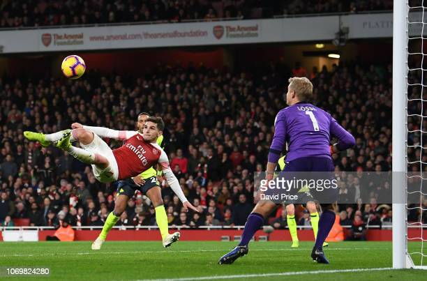 Lucas Torreira scores a goal for Arsenal during the Premier League match between Arsenal FC and Huddersfield Town at Emirates Stadium on December 8...