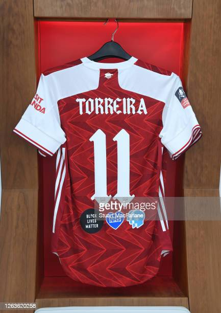 Lucas Torreira shirt in the Arsenal changing room before the FA Cup Final match between Arsenal and Chelsea at Wembley Stadium on August 01 2020 in...