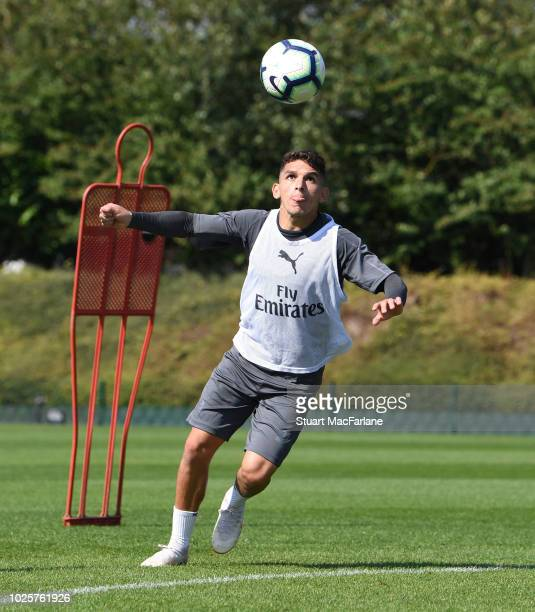 Lucas Torriera of Arsenal during a training session at London Colney on September 1 2018 in St Albans England