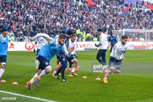 Lucas Tousart and Nabil Fekir of Lyon during the Ligue 1 match between Olympique Lyonnais and AS SaintEtienne at Parc Olympique on February 25 2018...