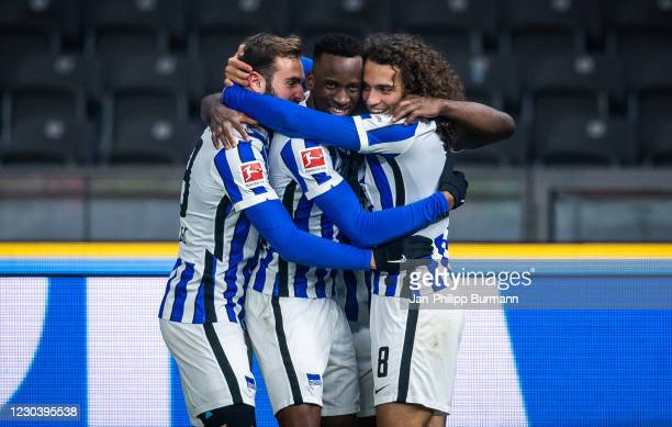 Lucas Tousart, Dodi Lukebakio and Matteo Guendouzi of Hertha BSC celebrate the 2:0 goal during the Bundesliga match between Hertha BSC and FC Schalke...