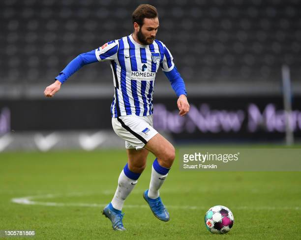 Lucas Tousart of Berlin in action during the Bundesliga match between Hertha BSC and FC Augsburg at Olympiastadion on March 06, 2021 in Berlin,...
