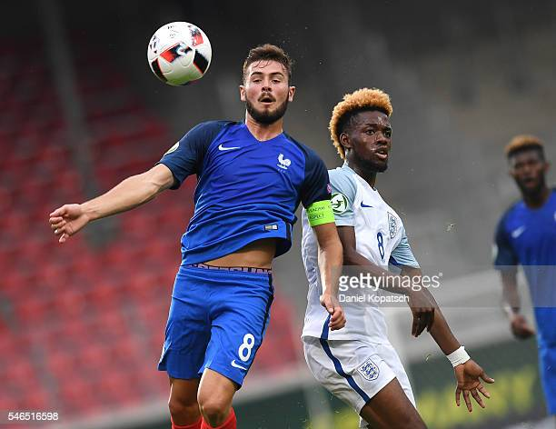 Lucas Tousart of France is challenged by Joshua Onomah of England during the UEFA Under19 European Championship match between U19 France and U19...