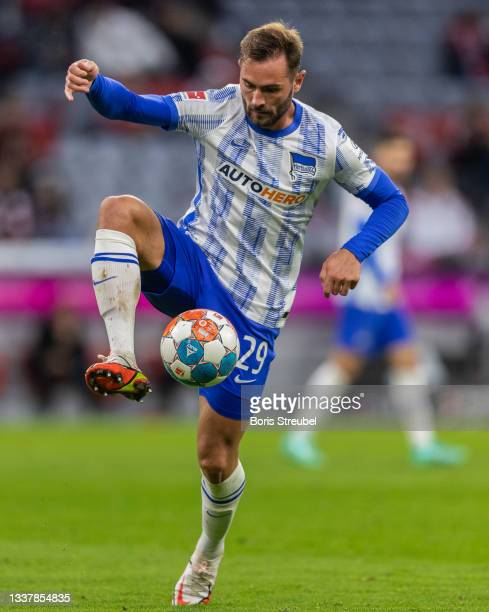 Lucas Tousart of Hertha BSC controls the ball during the Bundesliga match between FC Bayern München and Hertha BSC at Allianz Arena on August 28,...