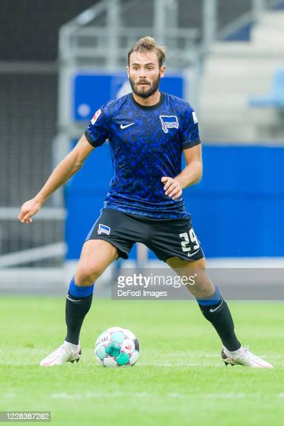 Lucas Tousart of Hertha BSC controls the ball during the pre-season friendly match between Hamburger SV and Hertha BSC at Volksparkstadion on...