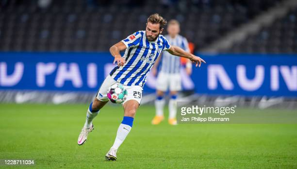 Lucas Tousart of Hertha BSC during the Bundesliga match between Hertha BSC and Eintracht Frankfurt at Olympiastadion on September 25, 2020 in Berlin,...