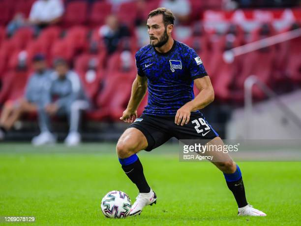 """Lucas Tousart of Hertha BSC during the pre season match between Ajax and Hertha BSC on August 25, 2020 in Amsterdam, The Netherlands. """"n"""