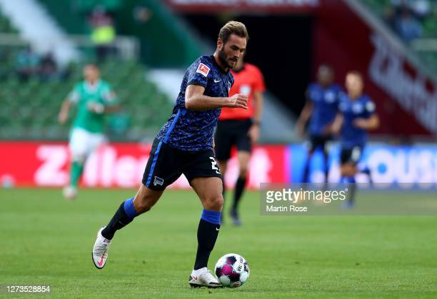Lucas Tousart of Hertha BSC runs with the ball during the Bundesliga match between SV Werder Bremen and Hertha BSC at Wohninvest Weserstadion on...