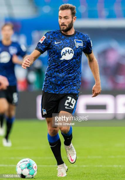 Lucas Tousart of Hertha BSC runs with the ball during the Bundesliga match between RB Leipzig and Hertha BSC at Red Bull Arena on October 24, 2020 in...