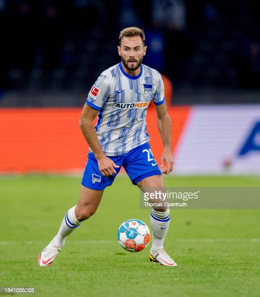 Lucas Tousart of Hertha in action during the Bundesliga match between Hertha BSC and SpVgg Greuther Fürth at Olympiastadion on September 17, 2021 in...