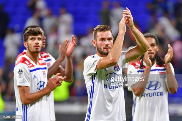 Lucas Tousart of Lyon acknowledges the crowd at the end of the Ligue 1 match between Lyon and Marseille at the Groupama Stadium on September 23 2018...