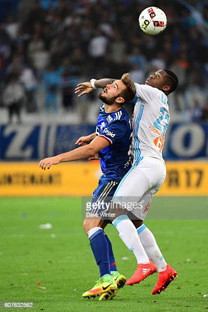 Lucas Tousart of Lyon and Aaron Leya Iseka of Marseille during the French Ligue 1 match between Olympique de Marseille and Olympique Lyonnais at...
