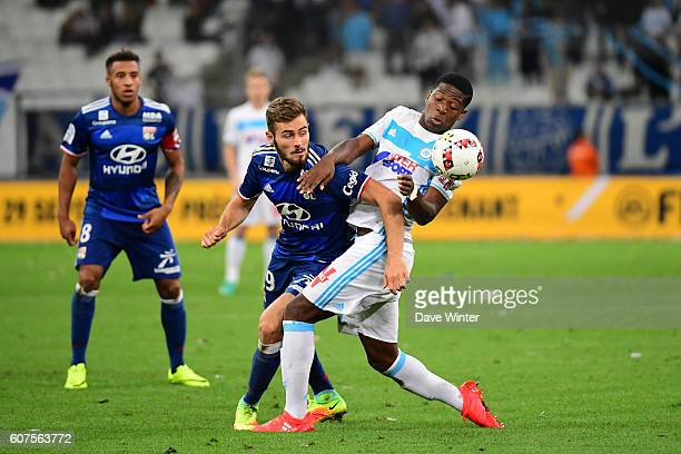 Lucas Tousart of Lyon and Aaron Leya Iseka of Marseilleduring the French Ligue 1 match between Olympique de Marseille and Olympique Lyonnais at Stade...