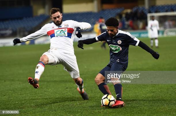 Lucas Tousart of Lyon and Keagan Dolly of Montpellier during the French Cup match between Montpellier and Lyon at Stade de la Mosson on February 7...