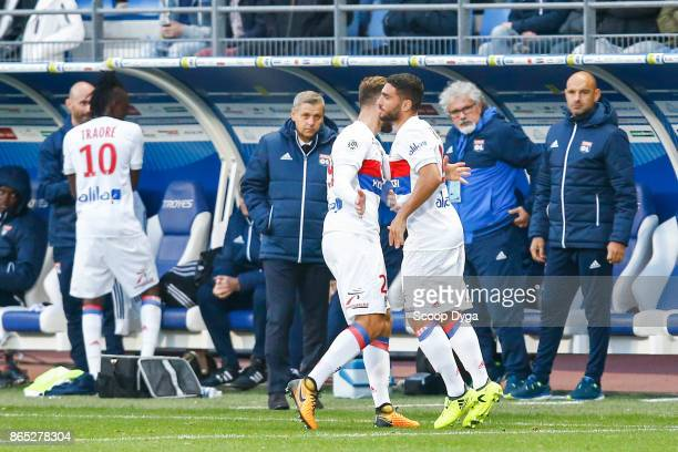 Lucas Tousart of Lyon and Myziane Maolida of Lyon during the Ligue 1 match between Troyes AC and Olympique Lyonnais at Stade de l'Aube on October 22...