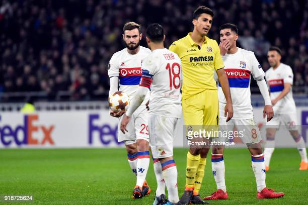 Lucas Tousart of Lyon and Nabil Fekir during the Europa League match between Lyon and Villarreal at Groupama Stadium on February 15 2018 in Lyon...