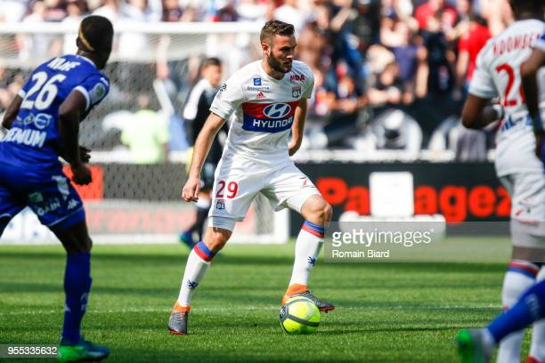 Lucas Tousart of Lyon and Niane Adama of Troyes during the Ligue 1 match between Olympique Lyonnais and Troyes AC at Parc Olympique on May 6 2018 in...