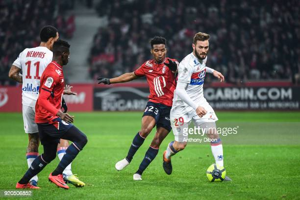 Lucas Tousart of Lyon and Thiago Mendes of Lille during the Ligue 1 match between Lille OSC and Olympique Lyonnais at Stade Pierre Mauroy on February...