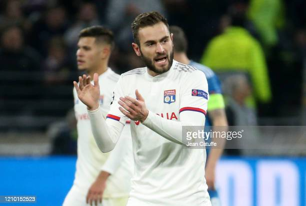 Lucas Tousart of Lyon celebrates his goal during the UEFA Champions League round of 16 first leg match between Olympique Lyonnais and Juventus at...