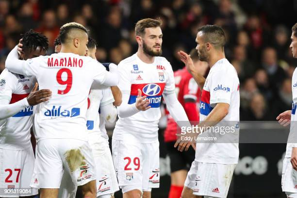 Lucas Tousart of Lyon celebrates with Nabil Fekir of Lyon after his goal during the Ligue 1 match between EA Guingamp and Olympique Lyonnais at Stade...