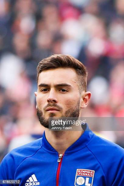 Lucas Tousart of Lyon during the Uefa Europa League semi final first leg match between Ajax Amsterdam and Olympique Lyonnais at Amsterdam Arena on...