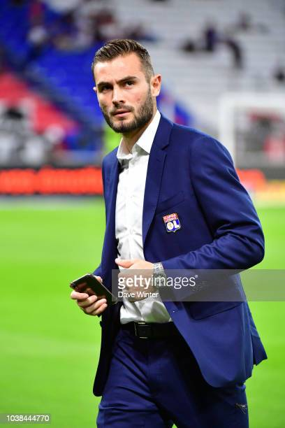 Lucas Tousart of Lyon celebrates after his side wins the Ligue 1 match between Lyon and Marseille at the Groupama Stadium on September 23 2018 in...