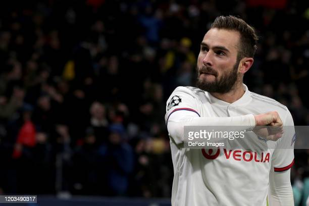 Lucas Tousart of Olympique Lyon celebrates after scoring his team's first goal during the UEFA Champions League round of 16 first leg match between...
