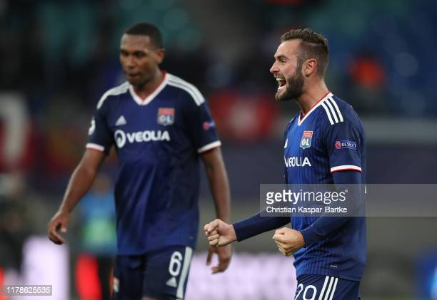 Lucas Tousart of Olympique Lyon celebrates during the UEFA Champions League group G match between RB Leipzig and Olympique Lyon at Red Bull Arena on...