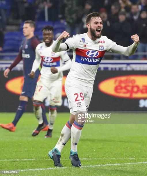 Lucas Tousart of Olympique Lyonnais celebrates the victory during the Ligue 1 match between Olympique Lyonnais and Paris Saint Germain at Parc OL on...