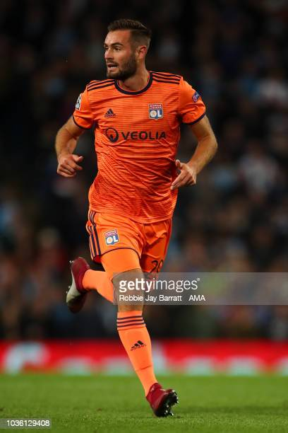 Lucas Tousart of Olympique Lyonnais during the Group F match of the UEFA Champions League between Manchester City and Olympique Lyonnais at Etihad...