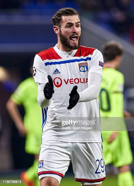 Lucas Tousart of Olympique Lyonnais reacts during the UEFA Champions League Round of 16 First Leg match between Olympique Lyonnais and FC Barcelona...
