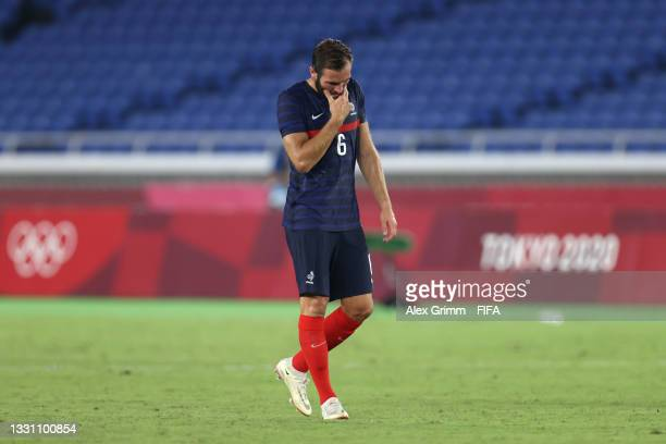 Lucas Tousart of Team France looks dejected during the Men's Group A match between France and Japan on day five of the Tokyo 2020 Olympic Games at...