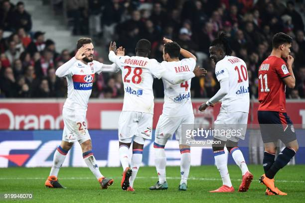 Lucas Tousart Tanguy Ndombele Rafael and Bertrand Traore of Lyon celebrates a goal during the Ligue 1 match between Lille OSC and Olympique Lyonnais...
