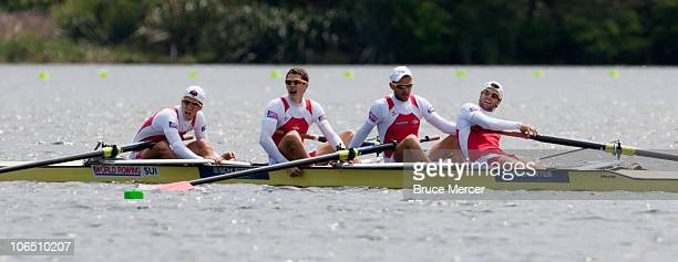 Lucas Tramer mario Gyr Simon Niepmann and Simon Schuerch of Switzerland compete in the leightweight mens four during day five of the World Rowing...