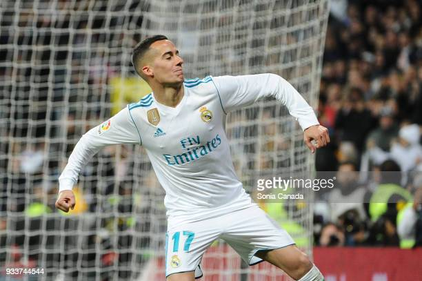 Lucas Vazquez #17 of Real Madrid celebrates after scoring his team's third goal during the La Liga match between Real Madrid v Girona at Santiago...