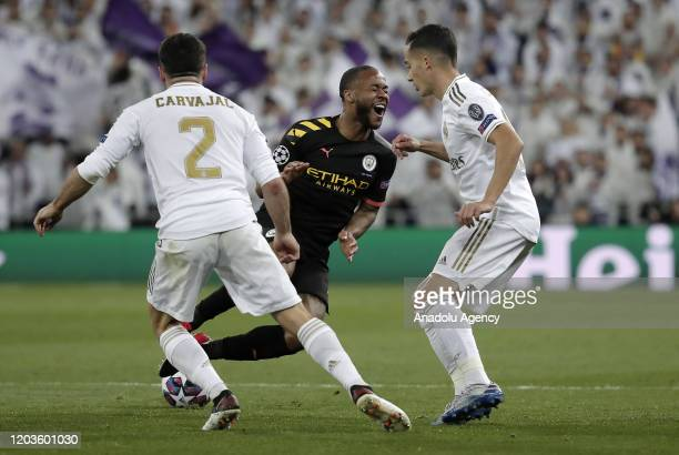 Lucas Vazquez and Dani Carvajal of Real Madrid argues with Raheem Sterling of Manchester City during the UEFA Champions League round of 16 first leg...