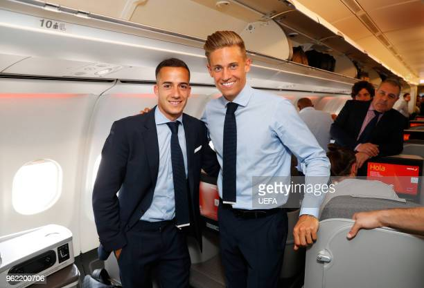 Lucas Vazquez and Marcos Llorente of Real Madrid pose as they arrive ahead of the UEFA Champions League Final at KBP Airport on May 24 2018 in Kiev...