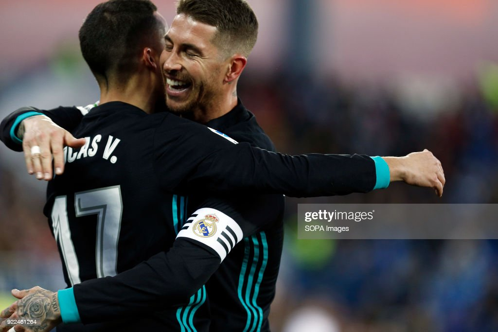BUTARQUE, LEGANES, MADRID, SPAIN - : Lucas Vazquez (Real Madrid) and Sergio Ramos(Real Madrid) celebrates after scoring a goal during the Spanish league football match between Leganes vs Real Madrid at the Estadio Butarque. Final Score Leganes 1 Real Madrid 3.