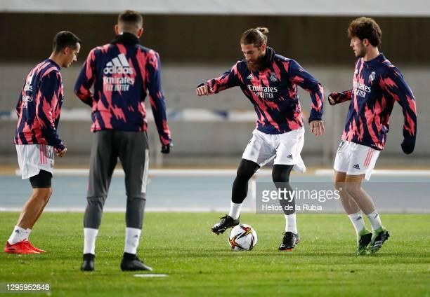 Lucas Vazquez, Fede Valverde, Sergio Ramos and Odriozola training to prepare for the semifinal of the Spanish Super Cup at Ciudad de Málaga stadium...