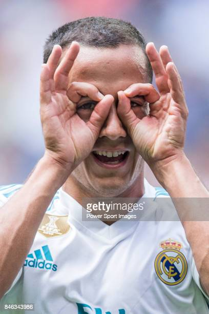 Lucas Vazquez Iglesias of Real Madrid celebrates after scoring his goal during the La Liga match between Real Madrid and Levante UD at the Estadio...