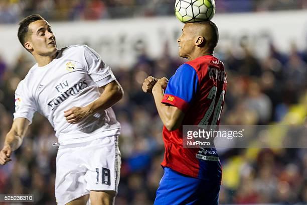 Lucas Vazquez of Real Madrid and 20 Deyverson Brum Silva Acosta del Levante UD during la liga match between Levante UD and Real Madrid CF at Ciutat...